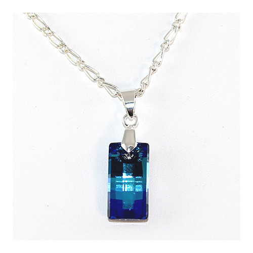 Urban Pendant on Silver Plate Filagree Chain - Swarovski© Crystal - Bermuda Blue