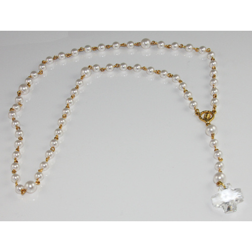 Pearl Rosary Beads with 20mm Square Crystal Cross - Swarovski© Crystal and Gold Plated