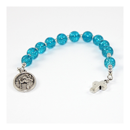 Pocket Rosary - Blue Glass with Silver Cross and St Christopher Holy Medal