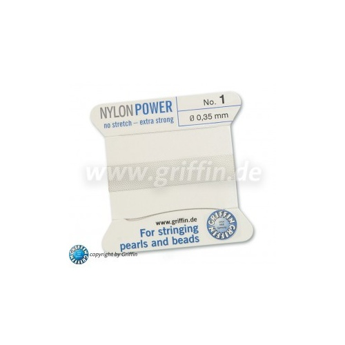 No 1 - 0.35mm - White Carded Bead Cord Nylon Power