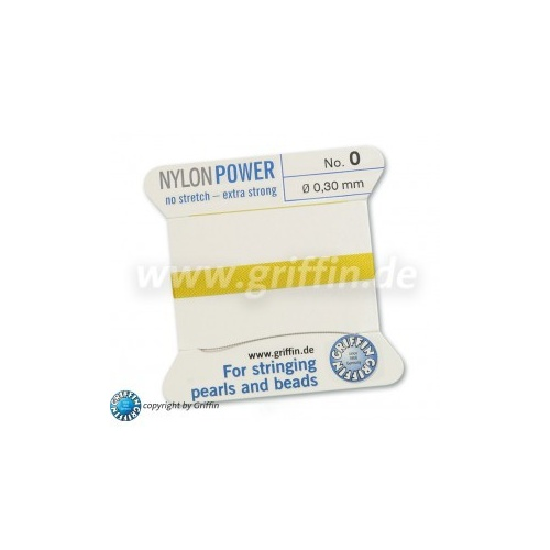No 0 - 0.30mm - Yellow Carded Bead Cord Nylon Power