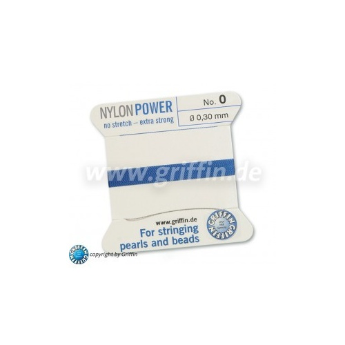 No 0 - 0.30mm - Blue Carded Bead Cord Nylon Power