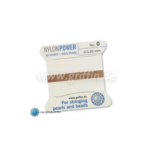 No 0 - 0.30mm - Beige Carded Bead Cord Nylon Power
