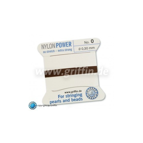 No 0 - 0.30mm - Brown Carded Bead Cord Nylon Power
