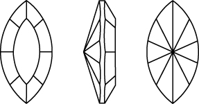 Swarovski 4228 - Xilion Navette Fancy Stone Line Drawing