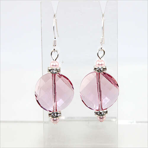 Pink Twist Earrings - Swarovski® Crystal Light Rose