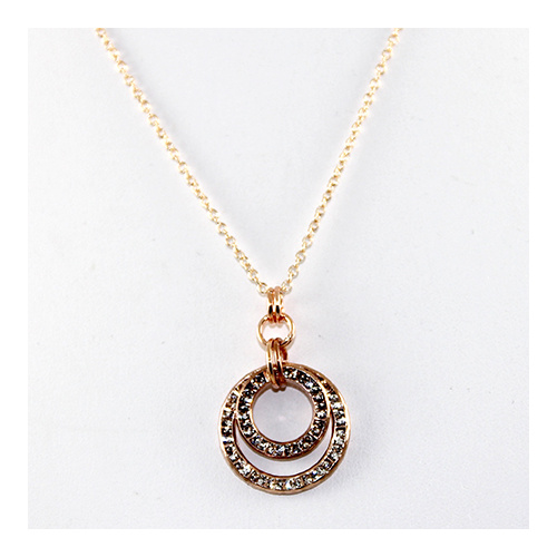 Rose Gold Double Circle Pendant on Rose Gold Plate Chain - Swarovski© Crystal