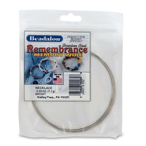 Remembrance Memory Wire - Necklace - 9 coil pack (0.25 oz / 7g) - Bright - JMNT-0.25Z