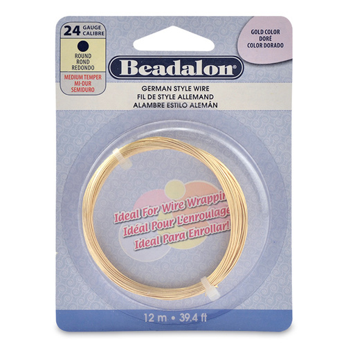 24 Gauge (0.51 mm) Round German Style Wire - 39.4 ft (12 m) - Gold Colour - 180A-024