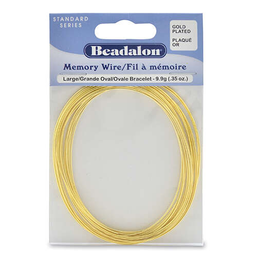 Memory Wire - Large Oval Bracelet - 20 coil pack (0.35oz / 1g) - Gold Plated - 347A-450