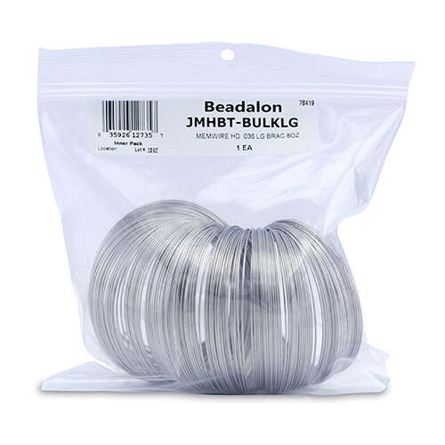 Remembrance Memory Wire - Heavy Duty (036 in / 0.91 mm) Large Bracelet - 240 coil pack (8 oz / 227 g) - Bright - JMHBT-BULKLG