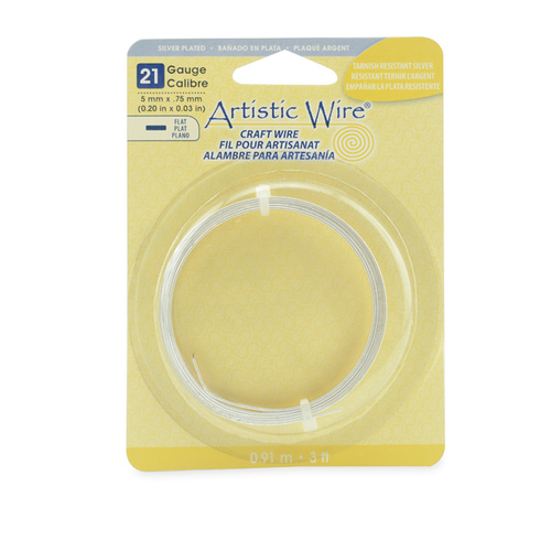 21 Gauge Flat Wire - 5 mm x .75 mm (0.20 in x 0.03 in) - 3 ft (.91 m) - Silver Plated, Tarnish Resistant Silver - AWB-21F5-S10-03