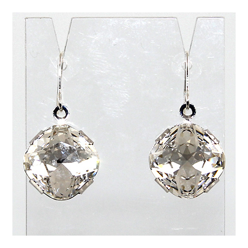 Antique Square Swarovski Crystal Earrings - Crystal & Rhodium