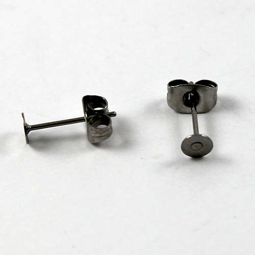 4mm Flat Pad Stud Earring - Pair - Stainless Steel