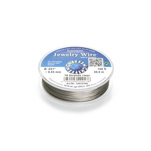 19 Strand Jewelry Wire - Clear, 100ft~30.5m spools .021 inch~0.53mm