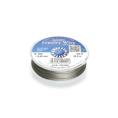 19 Strand Jewelry Wire - Clear, 100ft~30.5m spools .024 inch~0.60mm