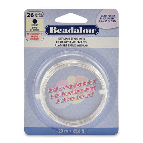 26 Gauge (0.41 mm) - Round German Style Wire - 65.6FT (20m) - Silver Plated - 180B-026