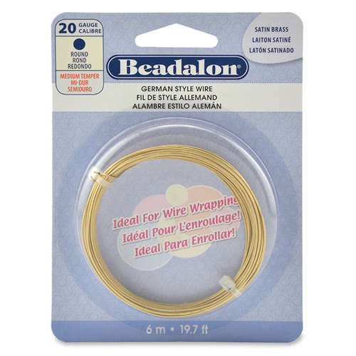 20 Gauge (0.81 mm) - Round German Style Wire - 6.5FT (2m) - Satin Brass Color - 180T-020