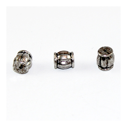 Striped Barrel Spacer Bead - Antique Silver