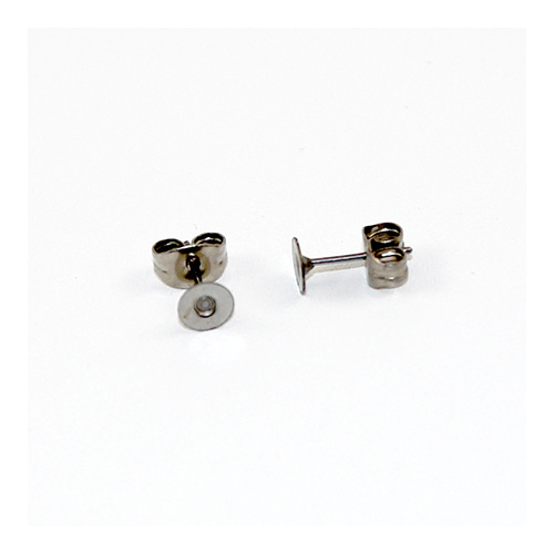 4mm Flat Pad Stud Earring - Pair - Surgical Steel