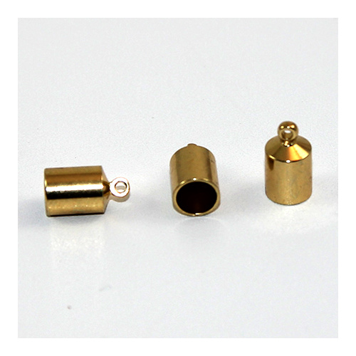 7mm Brass Cord End - Glue in - Gold