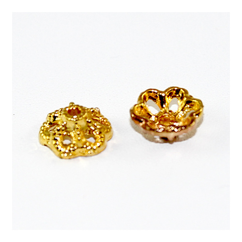 6 Point Flower Bead Cap - Gold