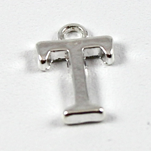 "Letter ""T"" Charm - Silver Plate"