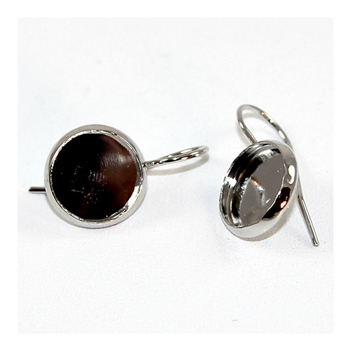 10mm Cabochon Setting Ear Hook - Pair - Antique Silver