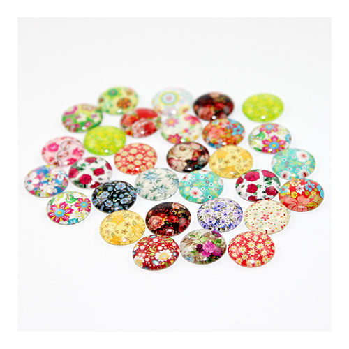 12mm Flower Patterned Glass Cabochon
