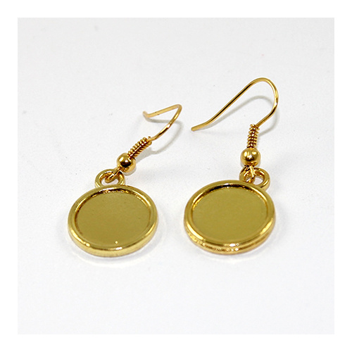 French Hook with Ball & 12mm Cabochon Drop Setting - Pair - Gold Plated
