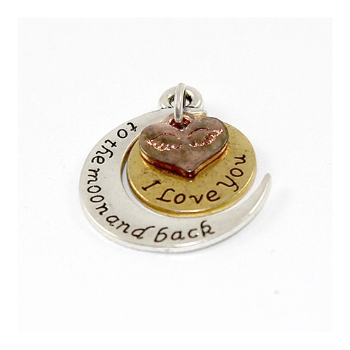 """ I Love You To The Moon And Back "" Carved Half Moon Round Heart Charm - Antique Silver, Gold & Rose Gold"