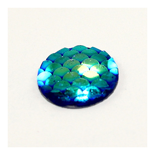 18mm Mermaid / Fish / Dragon Scale Dome Cabochon - Blue AB