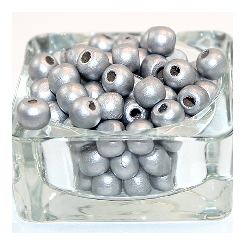 10mm Round Wooden Beads - Silver