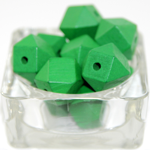 20mm Polyhedron Faceted Hinoki Wood Beads - Green