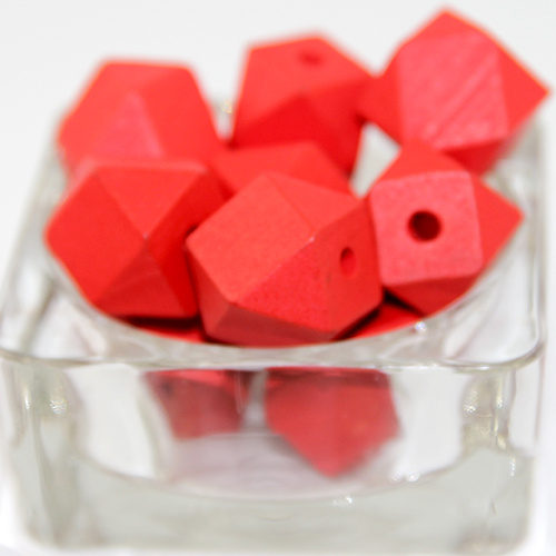 20mm Polyhedron Faceted Hinoki Wood Beads - Red