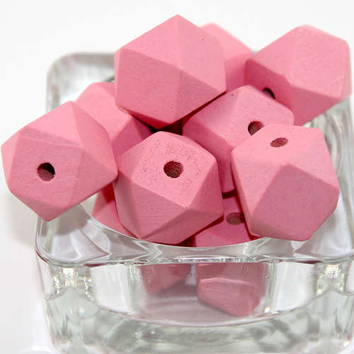 20mm Polyhedron Faceted Hinoki Wood Beads - Pale Pink