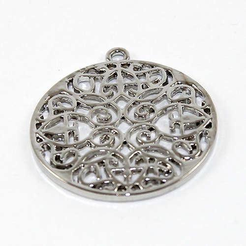 30mm Round Mandala Pendant - Antique Silver Plated