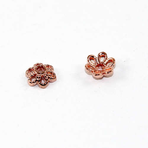 6mm 6 Petal Flower Bead Cap - Rose Gold