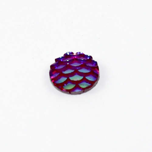 10mm Mermaid / Fish / Dragon Scale Dome Cabochon - Purple AB