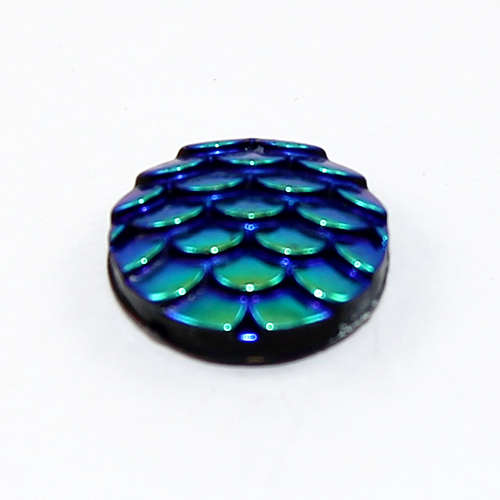12mm Mermaid / Fish / Dragon Scale Dome Cabochon - Bermuda Blue
