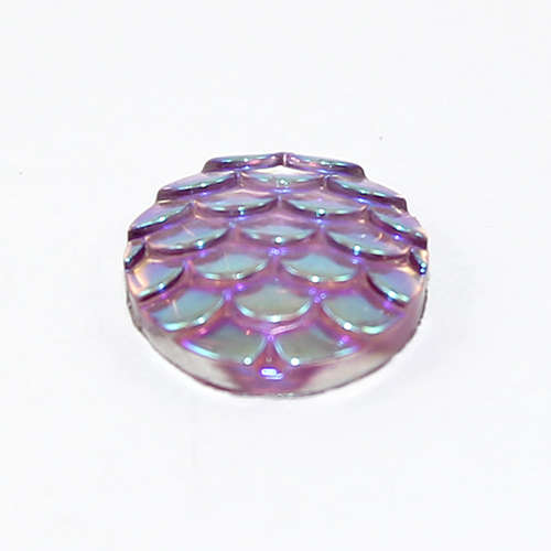 12mm Mermaid / Fish / Dragon Scale Dome Cabochon - Vitrail Light