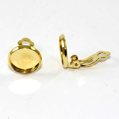 12mm Cabochon Setting Clip-ons - Pair - Gold Plate