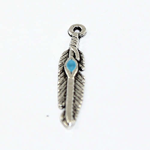 Feather Charm with Blue Turquoise - Antique Silver