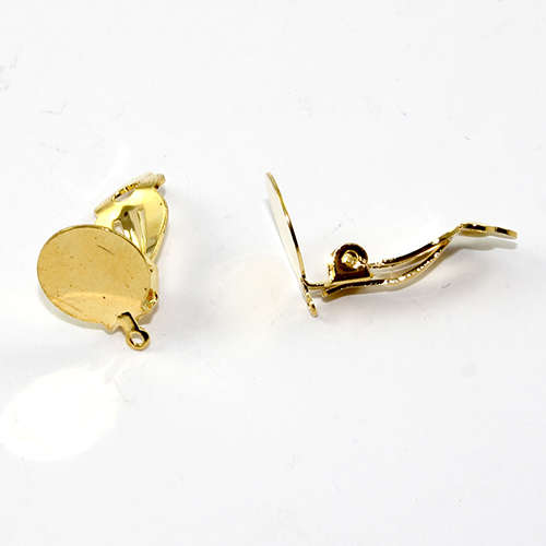 12mm Pad Clip on Earring with a loop - Pair - Bright Gold