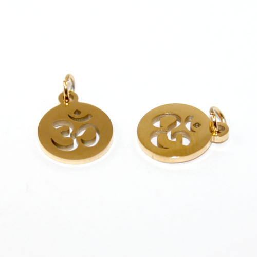 12mm Om Charm - 304 Stainless Steel - Gold