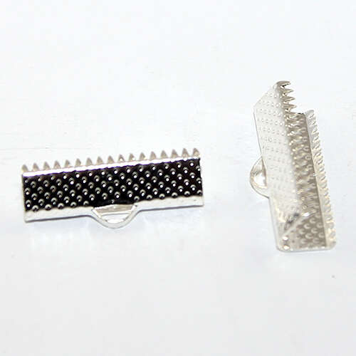 20mm Patterned Ribbon Crimp - Silver