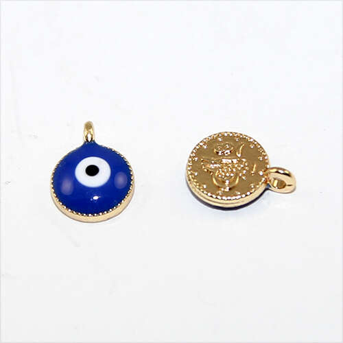 10mm Blue & White Enamel Evil Eye Charm - Gold
