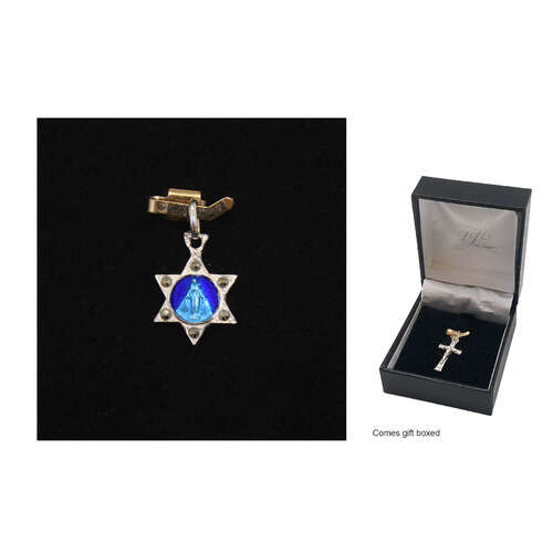 Holy Medal - Miraculous Mary - 13mm - Sterling Silver with Blue Enamel Image with Marcasite Stone