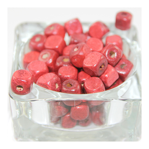 Cube Wooden Bead - Red