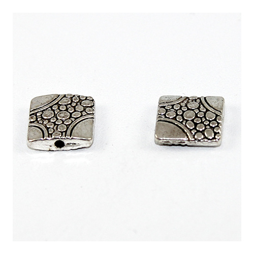 11mm - Etched Pebblestone Flat Square Bead - Antique Silver